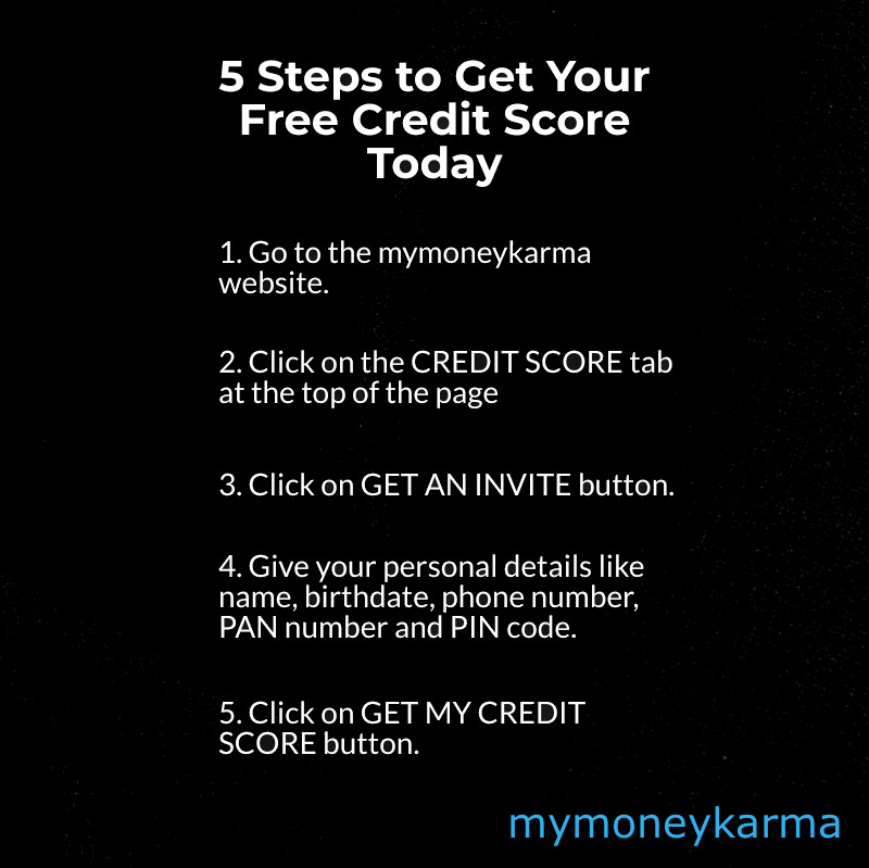 5 steps to get your free credit score today 1. Go to mymoneykarma website.com 2. Click on the credit score tab at the top of the page.3. Click on the credit score tab at the top of the page. 4.Give your Personal Details like name,birthdate,phonenumber,PAN number and PIN Code. 5. Click on Get My Credit Score button